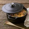 In use the Chasseur 28cm Cast Iron Enamelled Casserole Dish in Matt Black finish