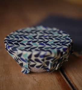 Beeswax Food Wraps Over Bowl